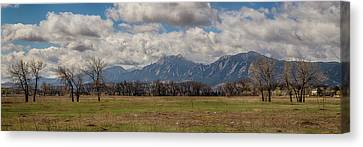 Canvas Print featuring the photograph Boulder Colorado Front Range Panorama View by James BO Insogna
