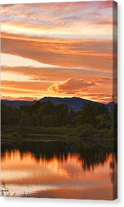 Boulder County Lake Sunset Vertical Image 06.26.2010 Canvas Print by James BO  Insogna