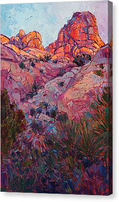 Canvas Print featuring the painting Boulder Dawn by Erin Hanson
