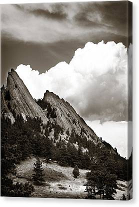 Large Cloud Over Flatirons Canvas Print by Marilyn Hunt