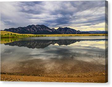 Boulder Flatirons From Marshall Lake Canvas Print by Juli Ellen
