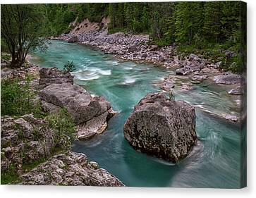 Canvas Print featuring the photograph Boulder In The River - Slovenia by Stuart Litoff