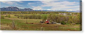 Canvas Print featuring the photograph Boulder Louisville Lafayette Colorado Front Range Panorama by James BO Insogna