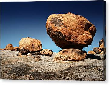 Solid Canvas Print - Boulder On Solid Rock by Johan Swanepoel