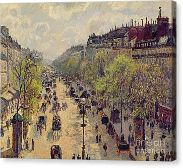 Boulevard Montmartre Canvas Print by Camille Pissarro