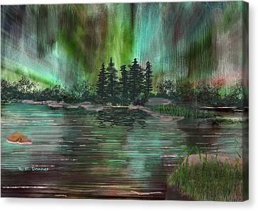 Boundry Waters Northern Lights Canvas Print by Bob Donner