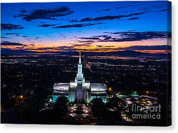 Bountiful Lds Mormon Temple Sunset 2 Canvas Print by Gary Whitton