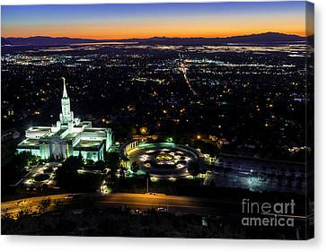 Bountiful Lds Mormon Temple Sunset Canvas Print by Gary Whitton