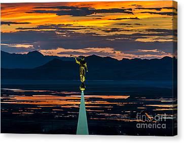 Bountiful Sunset - Moroni Statue - Utah Canvas Print by Gary Whitton