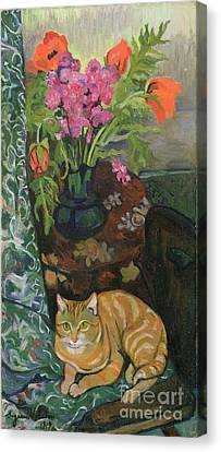 Bouquet And A Cat Canvas Print by Marie Clementine Valadon