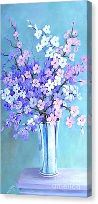 Canvas Print featuring the painting Bouquet In Silver Vase by Marta Styk