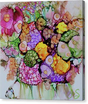 Canvas Print featuring the painting Bouquet Of Blooms by Joanne Smoley