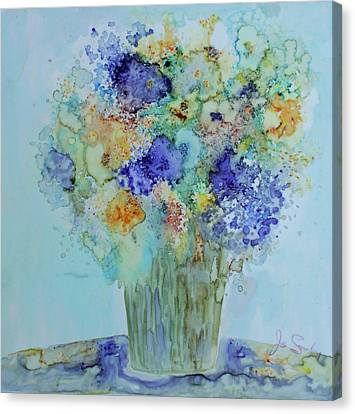 Canvas Print featuring the painting Bouquet Of Blue And Gold by Joanne Smoley