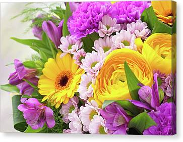 Bouquet Of Bright Beautiful Flowers Canvas Print