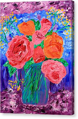 Bouquet Of English Roses In Mason Jar Painting Canvas Print by Beverly Claire Kaiya
