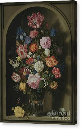 Bouquet Of Flowers In A Stone Niche Canvas Print by Ambrosius the Elder Bosschaert