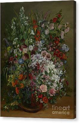 Bouquet Of Flowers In A Vase By Gustave Courbet Canvas Print