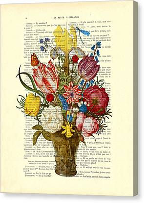 Bouquet Of Flowers On Dictionary Paper Canvas Print by Madame Memento