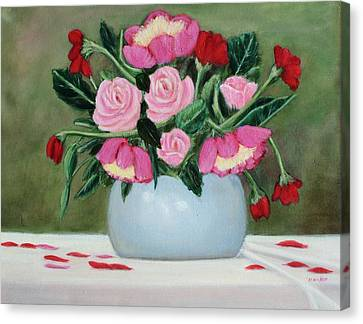 Bouquet Of Roses And Peonies Canvas Print