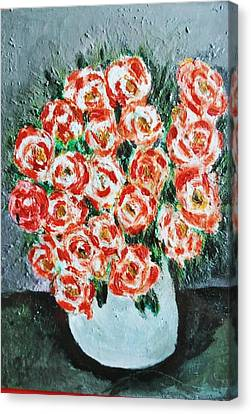 Bouquet Of Roses In The Vase Canvas Print by Giuseppe Fassina