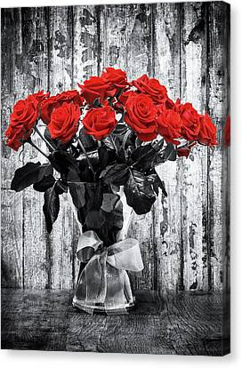 Bouquet Of Roses Canvas Print by Wim Lanclus