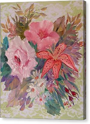 Canvas Print featuring the painting Bouquet by Quwatha Valentine