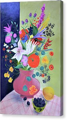 Bouquet With Dahlias And Blackberries Canvas Print by Tatjana Krizmanic