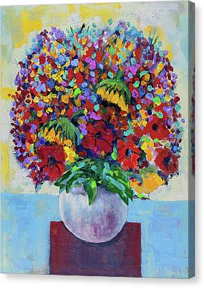 Bouquet With Two Sunflowers Canvas Print