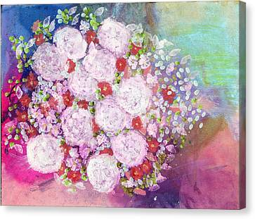 Bourbon Rose 'boule De Neige' Canvas Print by Don  Wright