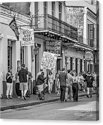 Bourbon Street - Let The Good Times Roll Bw Canvas Print