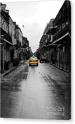 Bourbon Street Taxi French Quarter New Orleans Color Splash Black And White Watercolor Digital Art Canvas Print