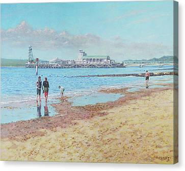 Canvas Print featuring the painting Bournemouth Pier Late Summer Morning by Martin Davey