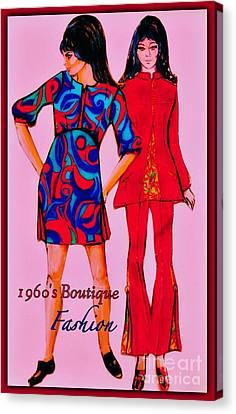 1960 Canvas Print - Boutique Fashion 1966 by Joan-Violet Stretch