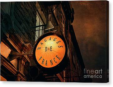 Boutique Sign - Quebec City Canvas Print by Maria Angelica Maira