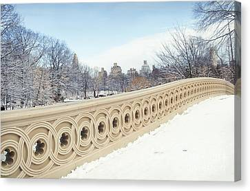 Bow Bridge In Winter The Central Park New York Canvas Print by Design Remix