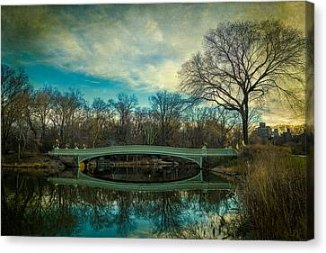 Canvas Print featuring the photograph Bow Bridge Reflection by Chris Lord