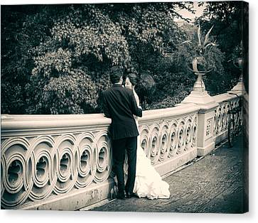 Gown Canvas Print - Bow Bridge Romance by Jessica Jenney