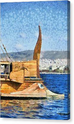 Ships Canvas Print - Bow Of A Full Scale Copy Of An Ancient Trireme by George Atsametakis