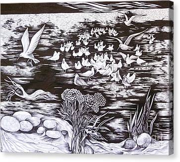 Canvas Print featuring the drawing Bow River by Anna  Duyunova