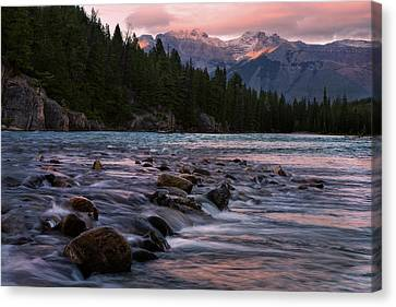 Canvas Print featuring the photograph Bow River Sunset Reflections by Dave Dilli