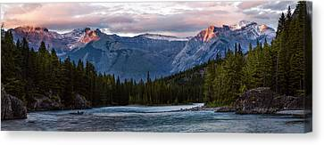Canvas Print featuring the photograph Bow River Sunset Reflections Panorama by Dave Dilli