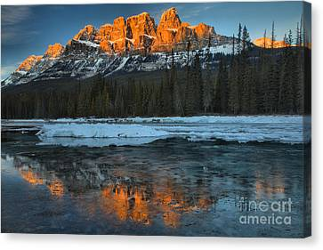 Canvas Print - Bow Valley Red Sunset Peaks by Adam Jewell