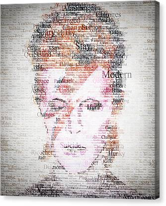 David Bowie Canvas Print - Bowie Typo by Taylan Apukovska