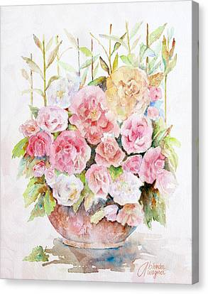 Bowl Full Of Roses Canvas Print