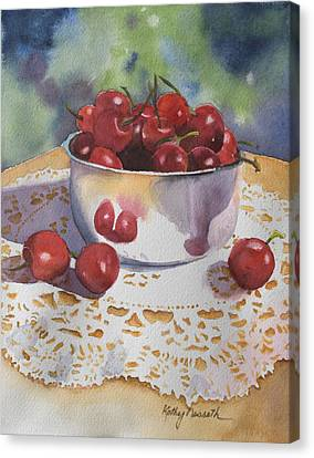 Bowl Of Cherries Canvas Print by Kathy Nesseth