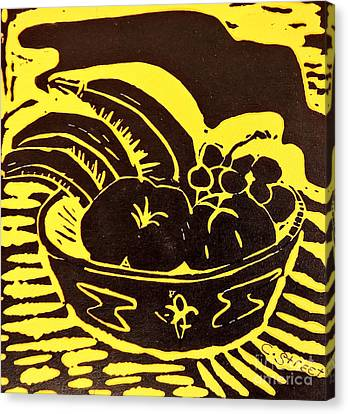 Bowl Of Fruit Black On Yellow Canvas Print by Caroline Street