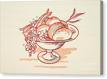 Grapes Canvas Print - Bowl Of Fruit by German School