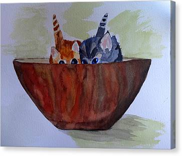 Bowl Of Kittens Canvas Print