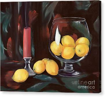 Bowl Of Lemons Canvas Print by Carol Sweetwood