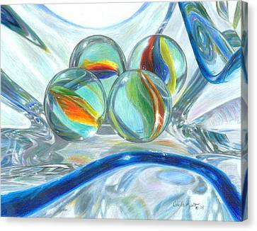Bowl Of Marbles Canvas Print